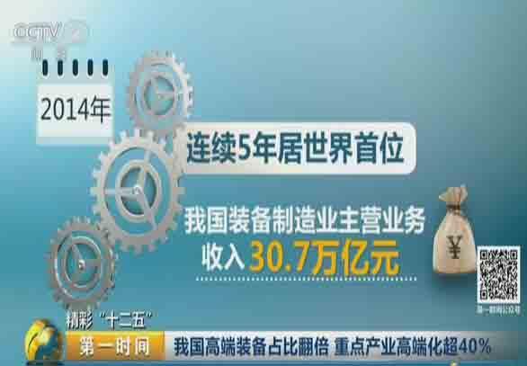 """精彩""""十二五"""":我国高端装备占比翻倍  重点产业高端化超40%"""